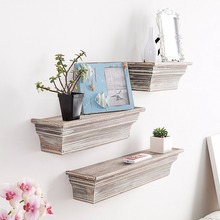 Rustic Torched Wood Wall Mounted Display Floating <strong>Shelves</strong>, Set of 3, Brown