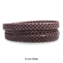 Genuine Flat Folded Snakeskin Leather Cord with Inside Stitching, Plum Natural Intarsia, 6 mm, 8 mm and 12 mm