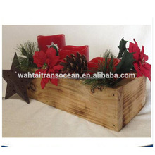 Decorative rustic wooden planter or table centerpiece, wood trough