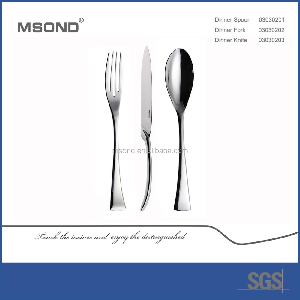 stainless Steel spoon fork knife with MSOND brand names hotel cutlery flatware set