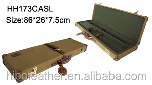 custom high Quality canvas trim with leather hardside carrying Take-Down Shotgun gun Case