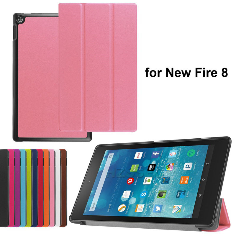 2015 new product pink PU leather tablet case for girls for Amazon Fire HD 8 inch