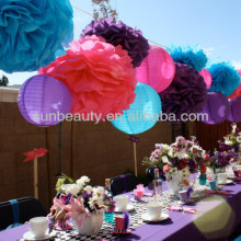 Tissue Paper Pompoms for Wedding Hall Decoration