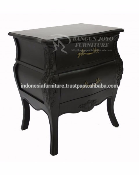 Luxury retro antique black nightstand, bedside , night table