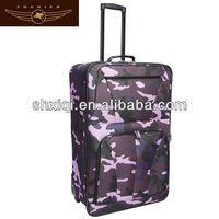 Military luggage zipper luggage 2 wheels fabric print luggage