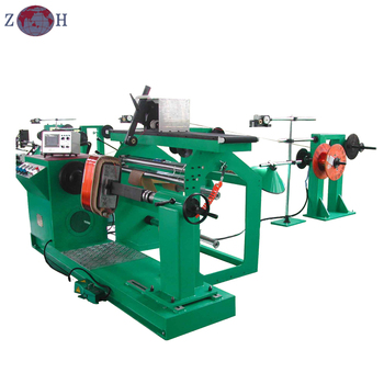 Automatic transformer coil winding machine with transversal wire guider