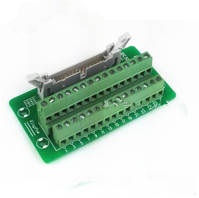 IDC30P IDC 30 Pin Male Connector to 30P Terminal Block Breakout Board Adapter PLC Relay Terminals DIN Rail Mounting