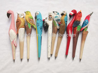 Animal gift pen,20 designs arts and crafts carved wood pen,print vivid cute gift pen
