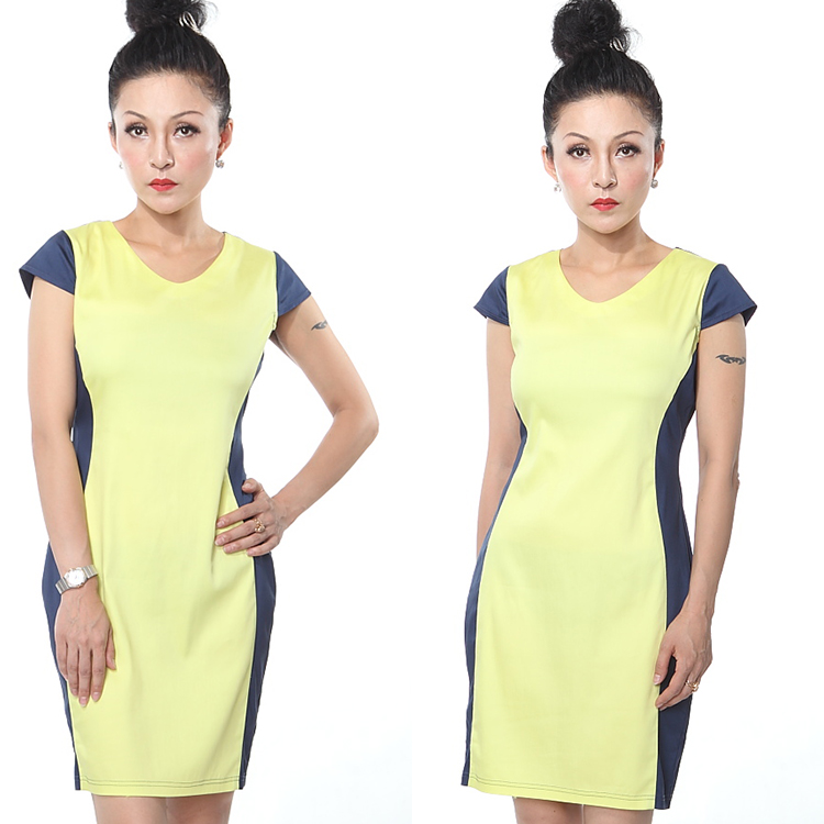 OEM Ladies designed Elegant Bodycon Polyester Party Evening Career Dress plus size