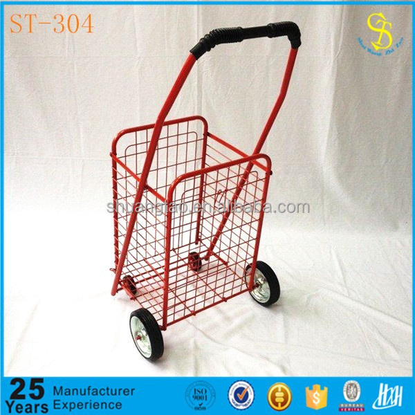 Metal iron cheap shopping trolley supplier, folding shopping trolley for hot sale