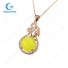 Round shape natural prehnite stone pendants 925 silver plating rose gold necklace jewelry