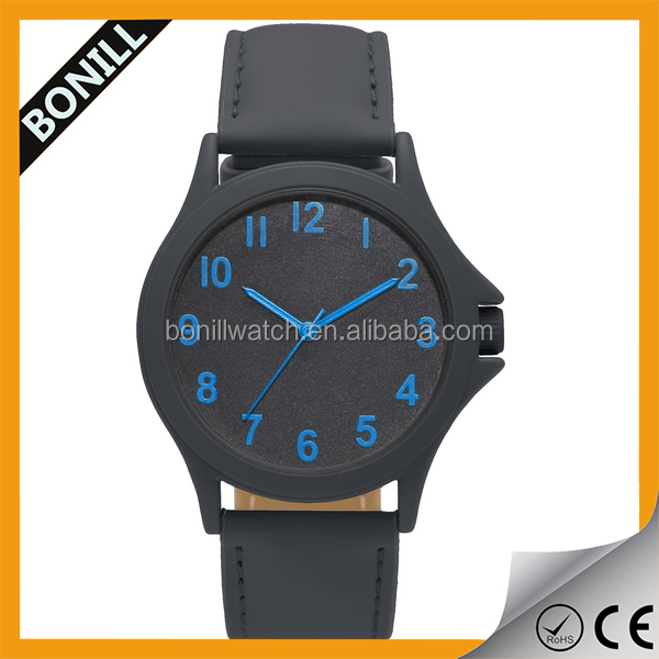 Bulk OEM purchase custom design watch metal case with leather strap