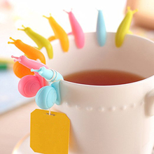 Lovely snail shape coffee cup silicone tea bag holder clip