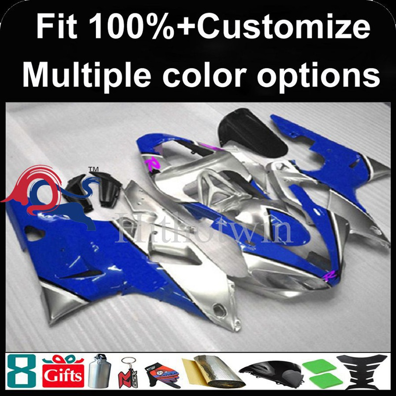 Injection mold blue silver Body motorcycle cowl for Yamaha YZFR1 2000-2001 00 <strong>01</strong> YZF <strong>R1</strong> 2000 2001 00-<strong>01</strong> ABS Plastic <strong>Fairing</strong>