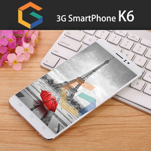 "New arrival smart phone android gps dual sim 3g original 6"" big screen unlocked mobile phone k6"