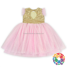 2016 Latest Wedding Party Wear Dresses Sequin Pink Tulle Flower Girl Dresses Girls Tulle Dress