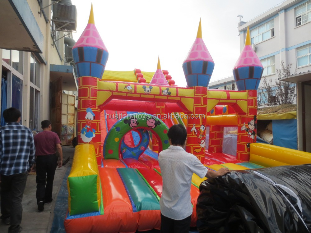 fantasy kingdom cartoon character playground slide inflatable castle slide for kids