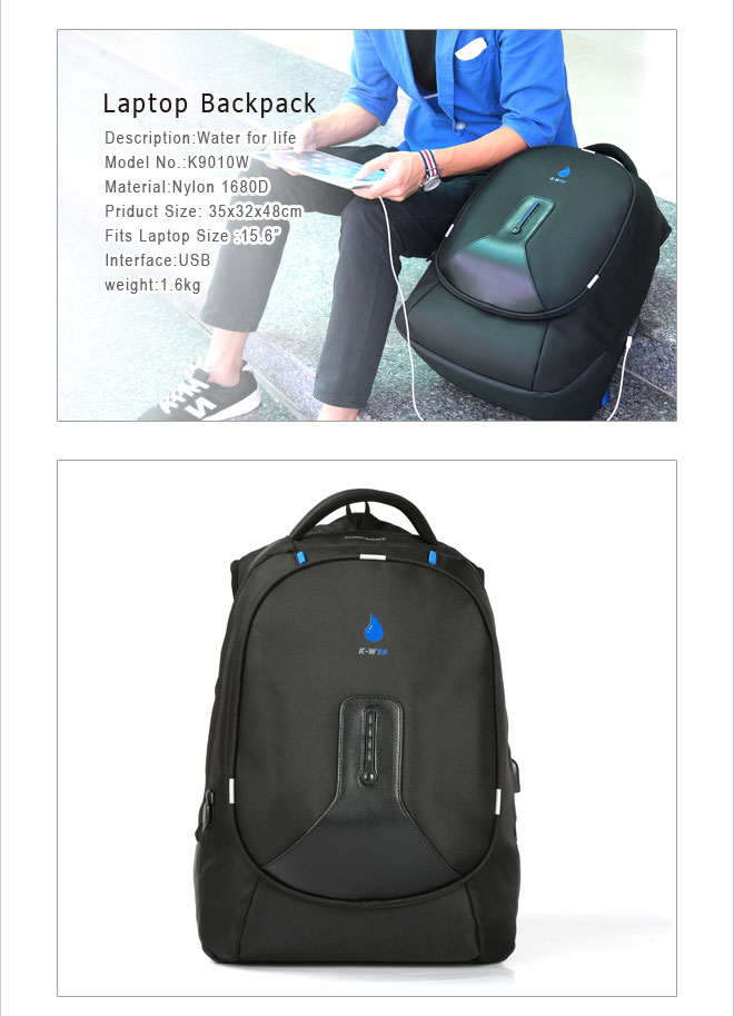 Black backpack with spare power bank,travelling backpack,mens backpack with external USB interface