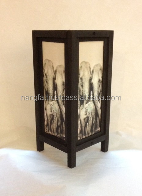Elephant theme table lamp with saa paper + pine wood from Thailand