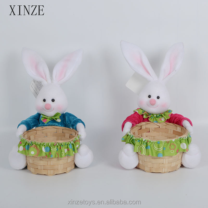 New Wicker easter baskets with rabbit easter bunny decoration