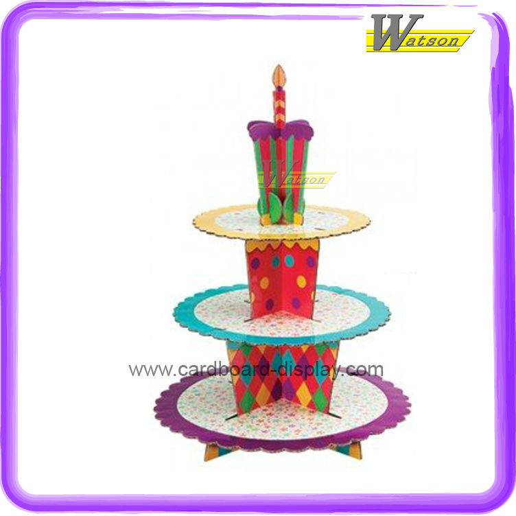 Corrugated Paper 3 tier Cupcake Display Stand for Party Celebration or cake shop