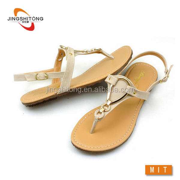 Strappy thong fashion design women 2016 flat sandals