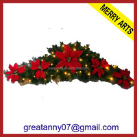China supplier wholesale christmas door artificial decorations wire garland with red flower decorated