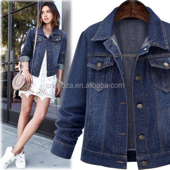 Z58199B Fashion Vintage Women's Denim Short Jacket Long Sleeve Outerwear Cool Coat