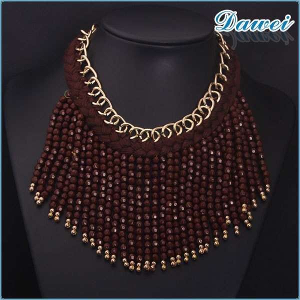 2015 fashion vintage brown knit beaded chain necklace chocker wholesale