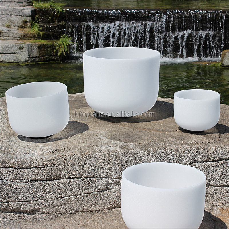 "7pcs Size 8""-<strong>12</strong>"" one set 432HZ/440hz frosted quartz crystal singing bowls C <strong>D</strong> E F G A B note"