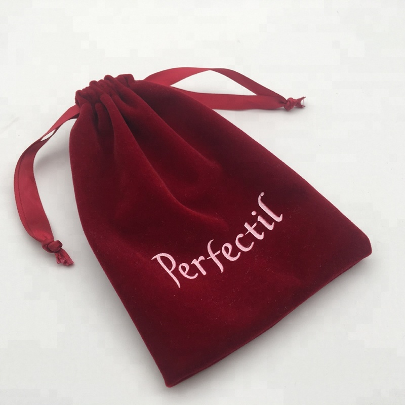 Red Velvet Jewelry Pouch With Logo
