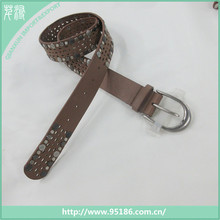 vintage style metal rivets hole leather fashion women belt