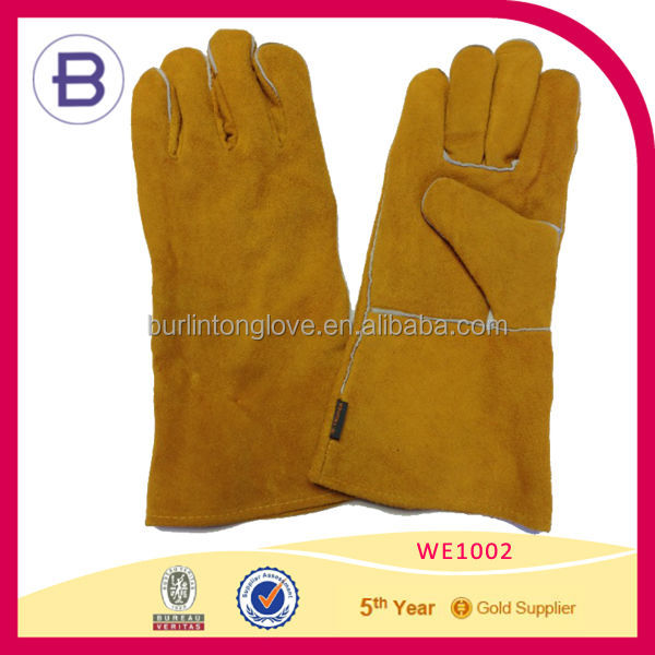 Yellow Long Cow Leather Anti-heat Working Welding Glove
