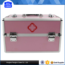 Customized size first aid lockable box Aluminum carrying cases /first aid suitcase