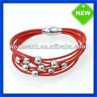 China supplier alibaba website Hot Red New Model Bangles With Metal Beads TPSBE421# wholesale