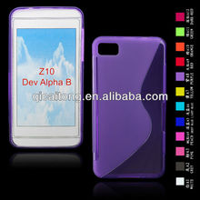 cellphone S-line TPU silicon gel cover for Blackberry Z10 Dev Alpha B