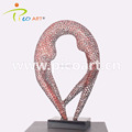 Modern woman body metal wire yoga indoor decoration sculpture
