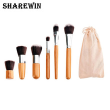 Professional High Quality Cosmetics Brush Short Handle Makeup Brushes Set with 6pcs