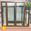 Brown teak wood window with American and Canadian standard windows and doors factory
