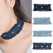 ZH0883A New fashion denim choker necklace for ladies