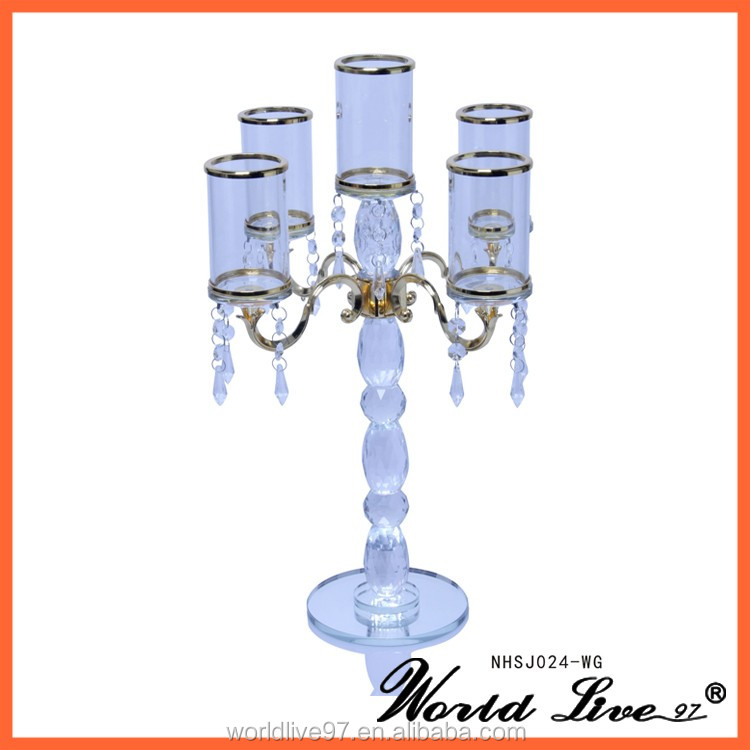 attractive cheap gold wedding crystal candelabra with pendant