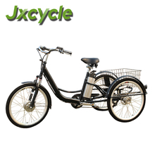 three wheel electric bicycle with basket side