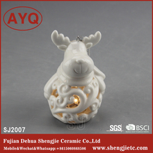Christmas Deer Ornaments Sublimation Blank White ceramic Crafts Figurines Hanging Decoration With Lighted Led