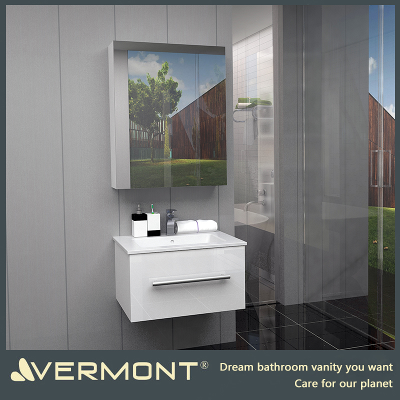 2017 Vermont Project Cheap PVC Material Solid Wood Bathroom Cabinet