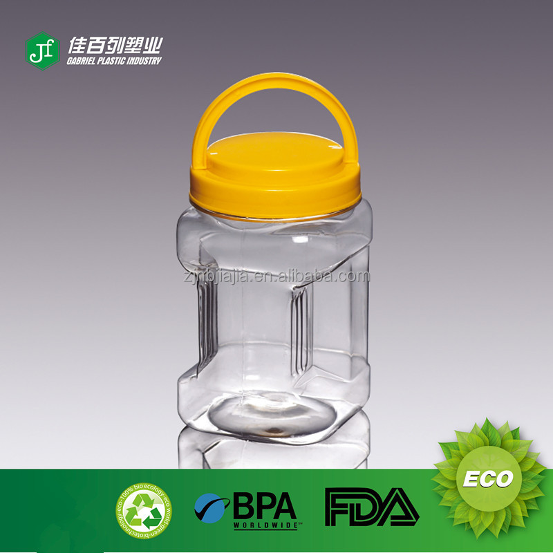 Wholesale Unique BPA Free hand grip Plastic PET small parts storage jar