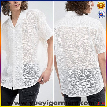 new model shirts boys see through white blank beach shirt for men in short sleeve