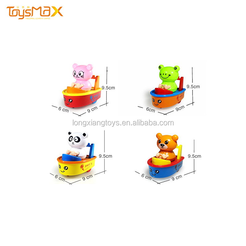 Inertia Bear  Model  Pullback Boat Car Toy  Cartoon Animal Kids Toy
