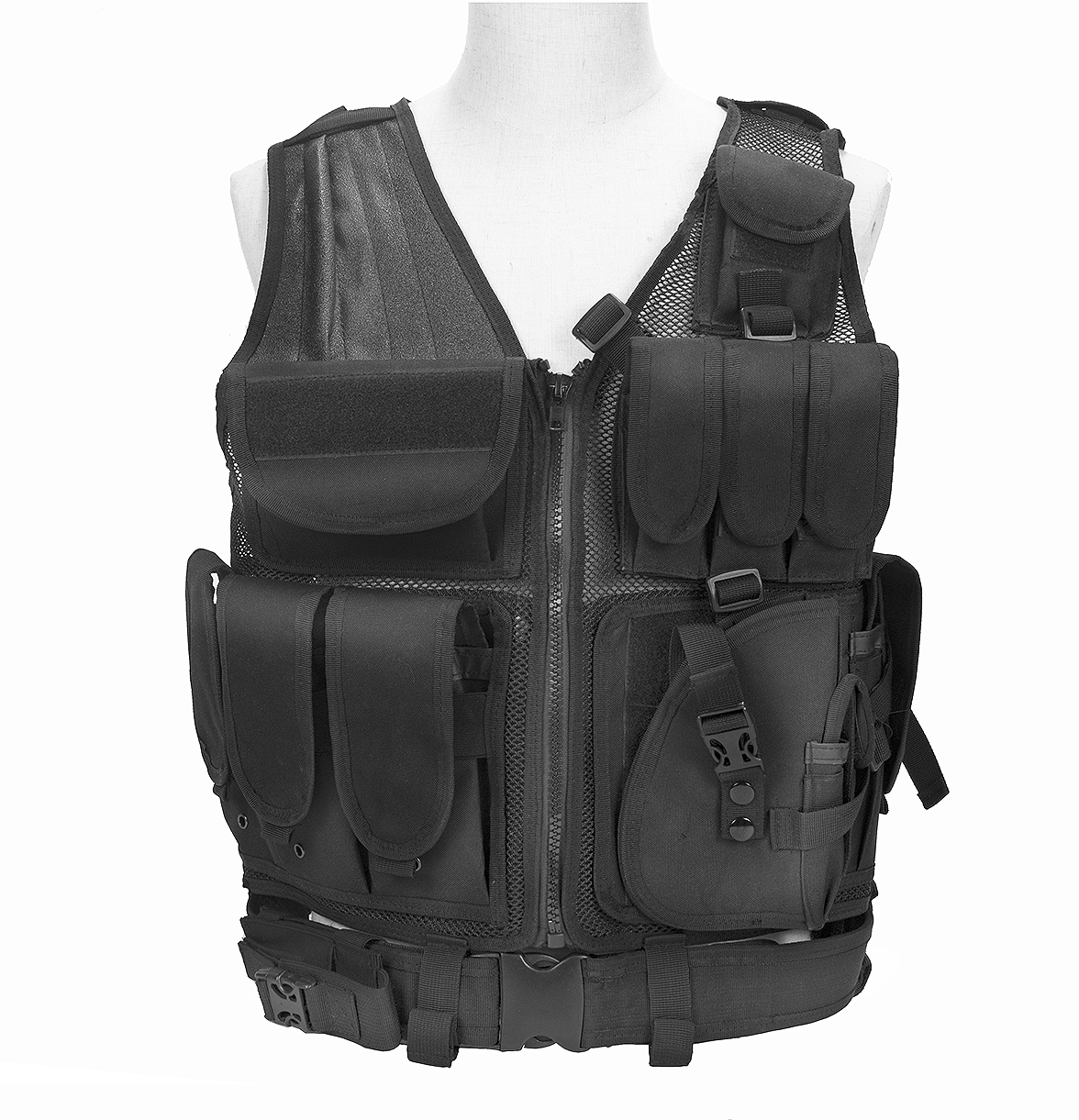 Military Combat Security Guard Tactical Vest With Universal Pistol Holster And Mesh Design