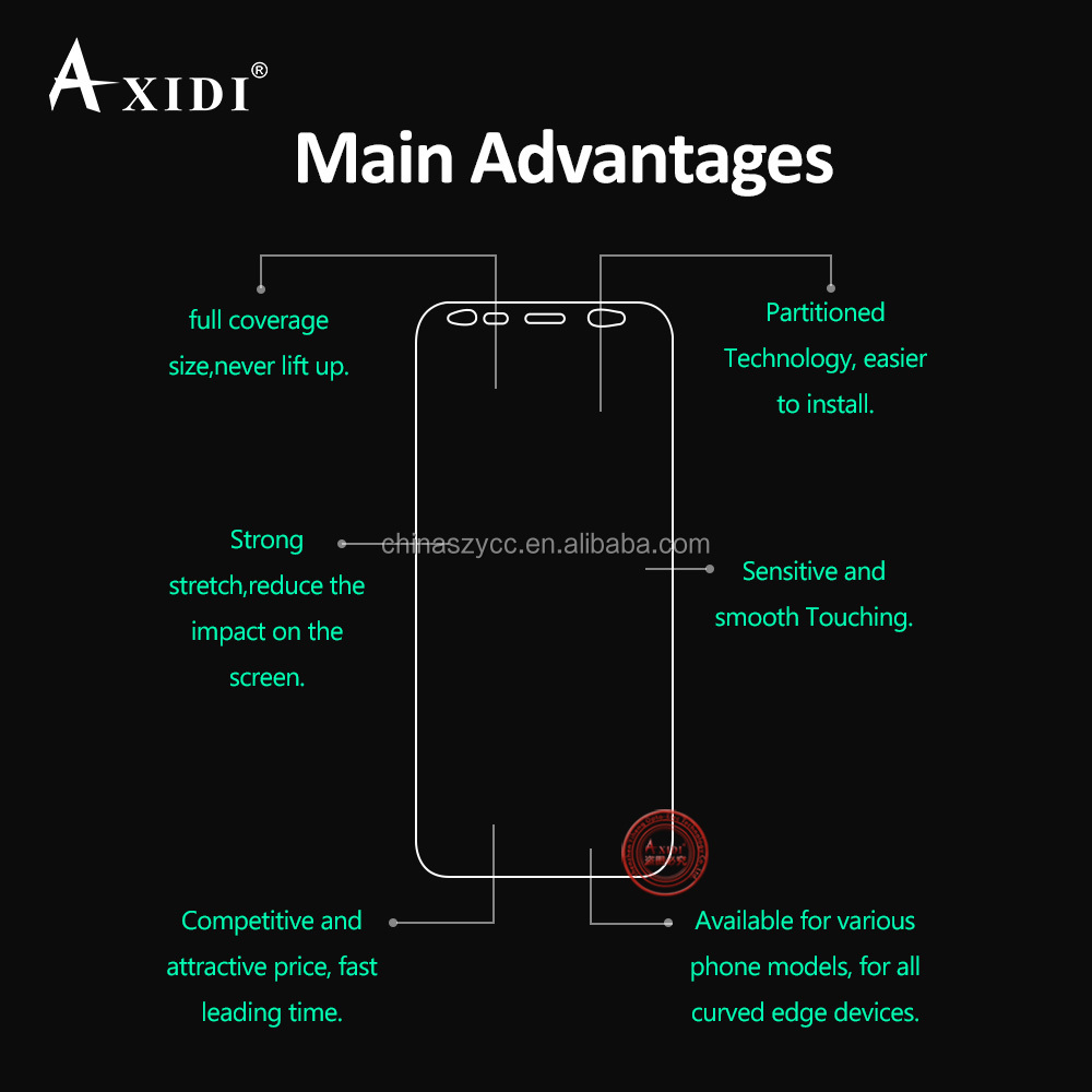 Samsung Mobile Phones Full Cover Edge to Edge Screen Protector for Galaxy S8