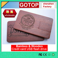 Wholesale Customized bamboo wooden Credit card usb flash drive mini Ultrathin slim whateproof electronic cheap promotional gift